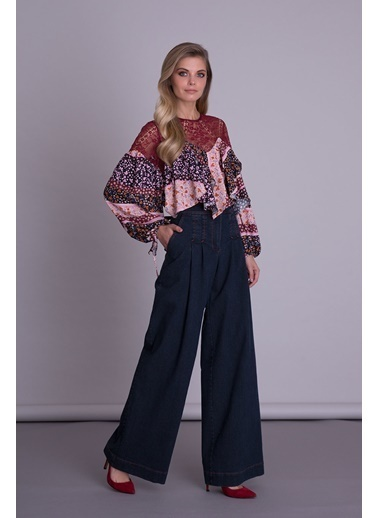 GIZIA Bilek Detaylı Dantelli Uzun Kollu Bluz Renksiz
